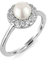 Majorica 6MM White Pearl and Sterling Silver Halo Ring
