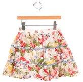 Kenzo Girls' Floral Print A-Line Skirt