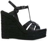 Saint Laurent espadrille wedge sandals - women - Raffia/Calf Leather/Leather/rubber - 35