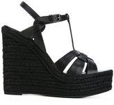 Saint Laurent espadrille wedge sandals - women - Raffia/Calf Leather/Leather/rubber - 36