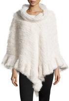 La Fiorentina Knit Mink Fur Poncho w/Roll Collar, White