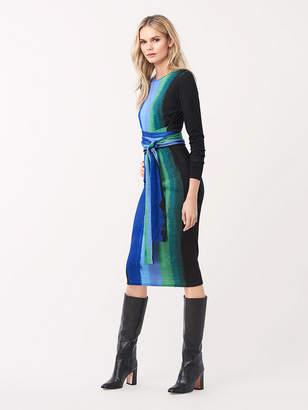 Diane von Furstenberg Gabel Merino Wool Belted Dress