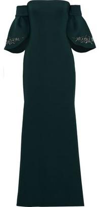 Badgley Mischka Off-the-shoulder Embellished Neoprene Gown