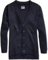 Nautica Girls' Uniform Cable-Knit Boyfriend Cardigan