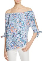 Aqua Floral Off-The-Shoulder Tie Sleeve Top - 100% Exclusive