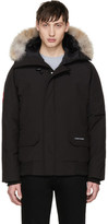 Canada Goose Black Down and Fur Chilliwack Bomber Jacket