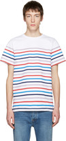 A.P.C. White Striped Regular T-shirt
