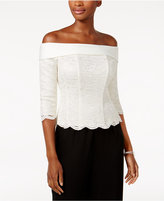 Alex Evenings Off-The-Shoulder Lace Blouse