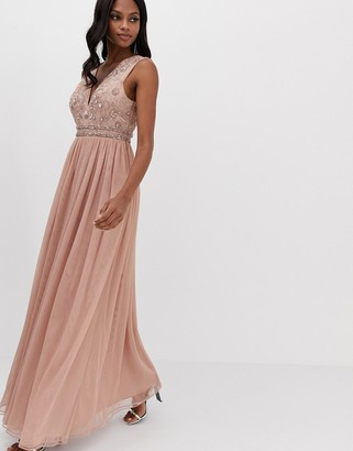 Asos Design DESIGN maxi dress with embellished bodice and tulle skirt-Pink