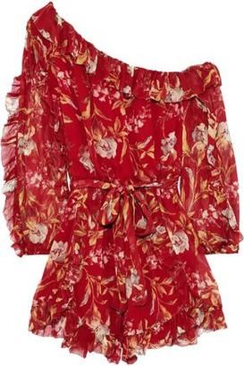 Zimmermann Corsair Iris One-shoulder Floral-print Silk-georgette Playsuit