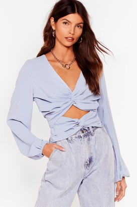 Nasty Gal Womens Cut-Out of It Twist Open Back Blouse - Blue