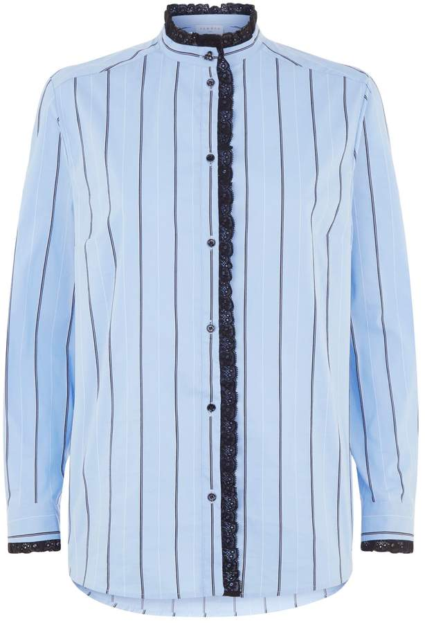 Sandro Lace Trimmed Striped Shirt