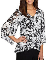 Alex Evenings Floral-Print Tiered Blouse