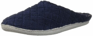 Dearfoams Womens Quilted Terry Clog Mule Slipper Padded Terrycloth Slip-Ons with Skid-Resistant Rubber Outsole