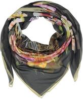 Laura Biagiotti Black Leopard and Flowers Print Silk Shawl
