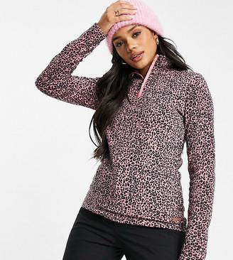 Protest Mutah 1/4 zip fleece in cheetah pink Exclusive at ASOS