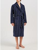 John Lewis Stripe Velour Cotton Robe, Navy
