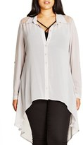 City Chic Plus Size Women's 'Cheeky Cowl' High/low Shirt