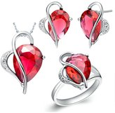 Babao Jewelry Jewelry Sets Babao Jewelry Ruby Drop Heart 18K Platinum Plated Cubic Zirconia Crystals Pendant Necklace Earrings Set with 925 Sterling Silver Necklace Ring Size 6
