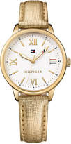 Tommy Hilfiger Women's Metallic Gold Leather Strap Watch 36mm 1781721
