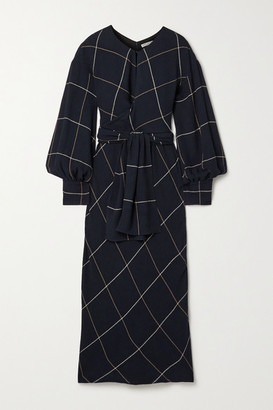 Three Graces London Victoria Draped Checked Woven Maxi Dress - Midnight blue