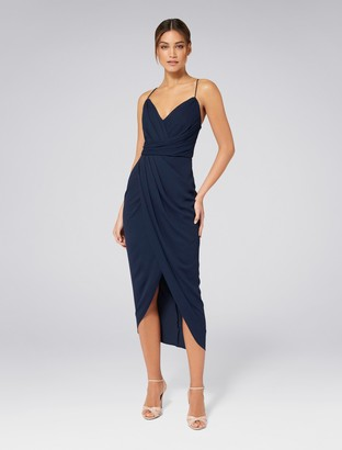Forever New Charlotte Drape Maxi Dress - Navy - 4