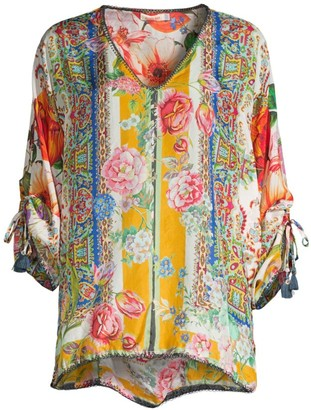 Johnny Was Sorbet Printed Silk Blouse