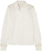 See by Chloe Crochet-paneled Fil Coupé Cotton Shirt - White