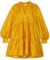 Stine Goya Jasmine Tiered Lamé Mini Dress - Chartreuse