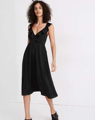 Madewell Ruffle-Front Cross-Back Midi Dress