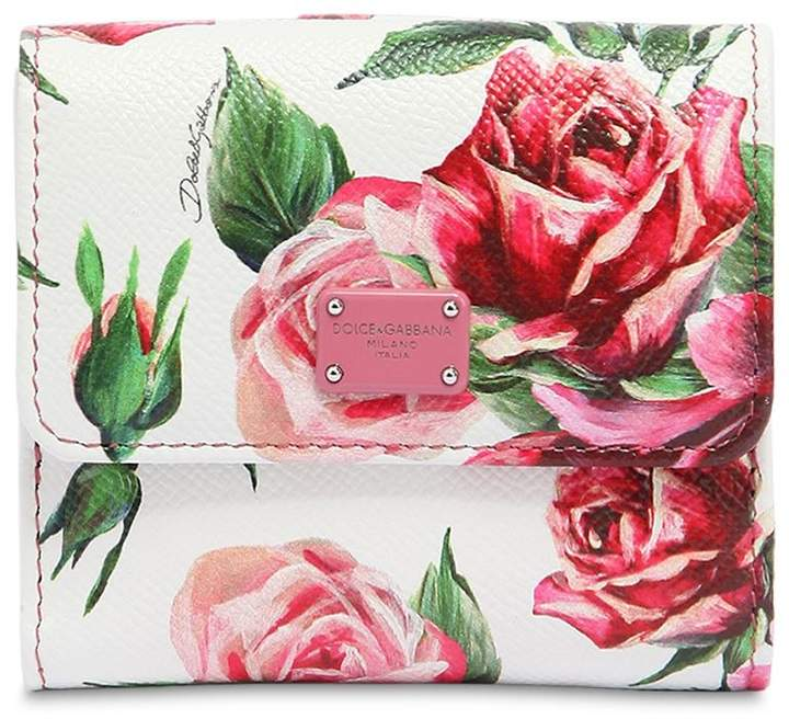 Dolce & Gabbana Flower Print Small Leather Wallet