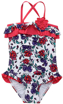 Beach Rays Blue & Red Rose One-Piece - Girls