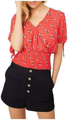 BB Dakota Toss Up Printed CDC Top with Sleeve Ties (Coral) Women's Clothing