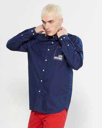 Love Moschino 3D Box Logo Long Sleeve Sport Shirt