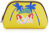 Love Moschino Saffiano Leather Cosmetic Pouch Bag, Yellow