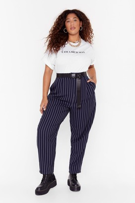 Nasty Gal Womens As Line Goes By Plus Pinstripe Trousers - Navy - 16
