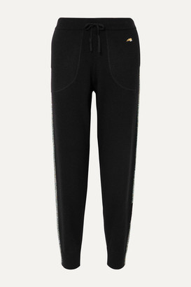 Bella Freud Britt Metallic Striped Merino Wool-blend Track Pants - Black