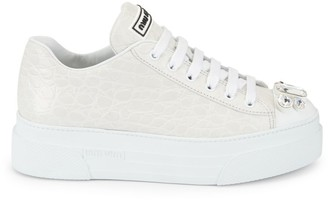 Miu Miu Jewelled Cap-Toe Croc-Embossed Leather Platform Sneakers