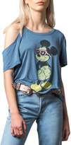 Recycled Karma Disney Mickey Mouse Cold-Shoulder Graphic Tee