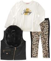 Juicy Couture Scottie Dog Hi-Lo Tee, Faux Fur Collar Faux Leather Vest & Animal Print Leggings Set (Little Girls)