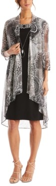 R & M Richards 2-Pc. Printed Jacket & Necklace Dress Set