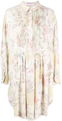 See by Chloe Floral-Print Draped Short Dress