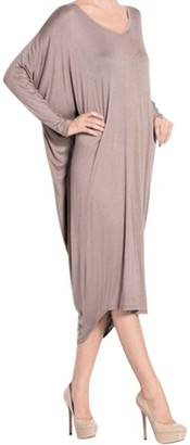 Chnli Womens V-Neck Maxi Dress Casual Backless Midi Dress Long Batwing Sleeve Cocktail Dress Irregular Hem Loose Baggy Tops (Brown)