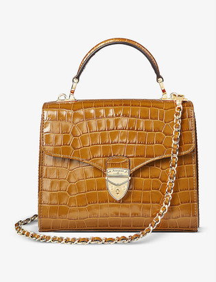 Aspinal of London Mayfair midi crocodile-embossed leather handbag