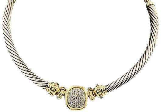 David Yurman 925 Sterling Silver & 18K Yellow Gold with 1ct Diamond Necklace