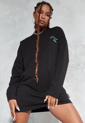 Missguided Sean John X Black Printed Oversized T Shirt Dress