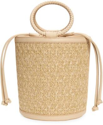 Mali & Lili Brittney Straw & Vegan Leather Bucket Bag