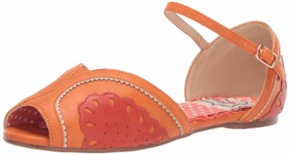 Bettie Page Women's 100-Fruitie Peep Toe Flat Orange 6
