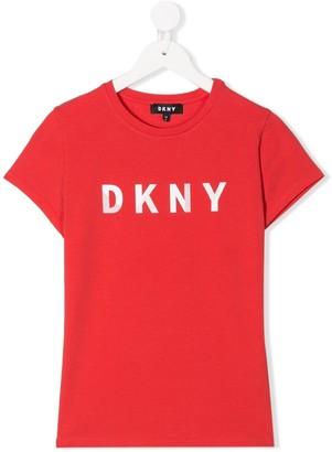 DKNY logo print round neck T-shirt