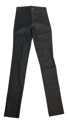Hotel Particulier Navy Leather Trousers
